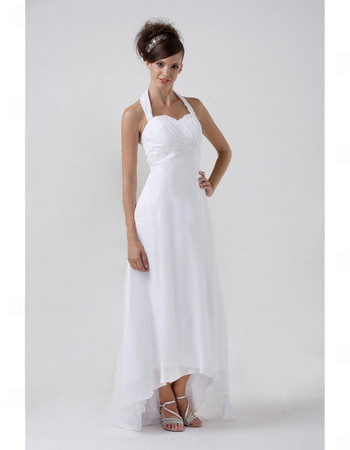 Designer Simple Empire Halter High Low Chiffon Wedding Dress
