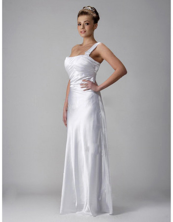 Custom Vintage Sheath/ Column One Shoulder Floor Length Wedding Dress