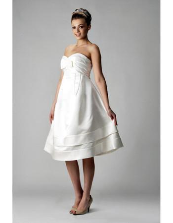 Cheap A-Line Sweetheart Satin Short Reception Wedding Dress