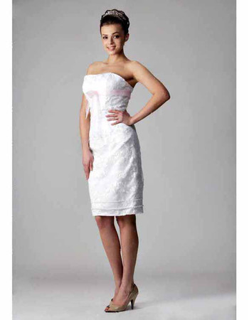 Cheap Classic Column/ Sheath Strapless Short Beach Wedding Dress