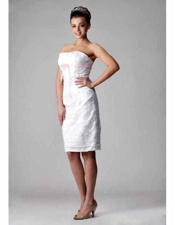 Cheap Classic Column/ Sheath Strapless Short Beach Wedding Dress
