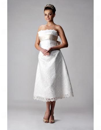 Classic Designer A-Line Strapless Tea Length Lace Wedding Dress