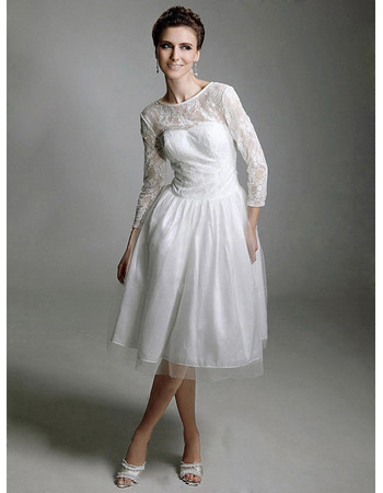 Vintage A-Line Long Sleeves Knee Length Lace Reception Wedding Dress