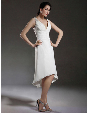 Elegant A-Line V-Neck High Low Chiffon Short Reception Wedding Dress