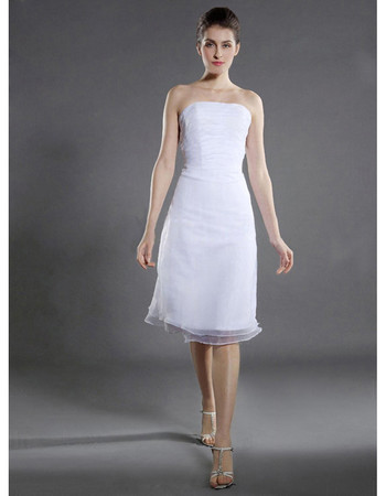 Simple Informal Summer A-Line Strapless Short Beach Wedding Dress