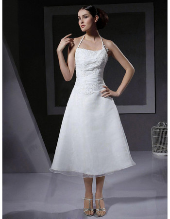 Designer Classic A-Line Halter Tea Length Satin Reception Wedding Dress