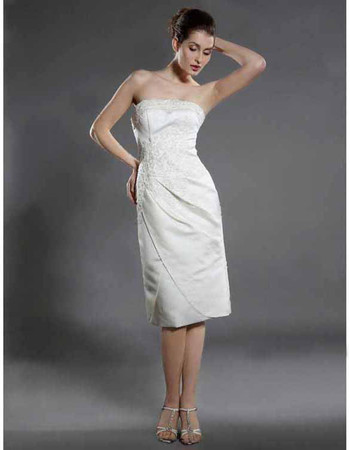 Affordable Classic Elegant Column Strapless Short Wedding Dress