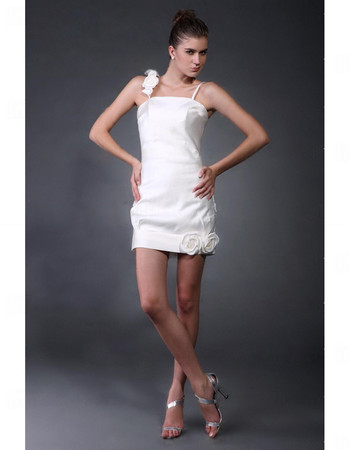 Cheap Charming Column/ Sheath Satin Short Informal Wedding Dress