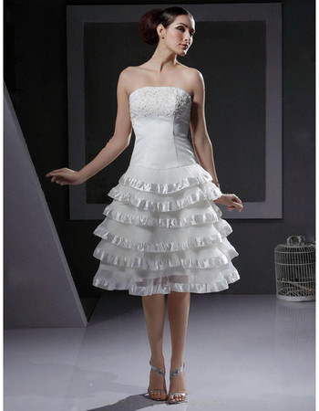 Chic A-Line Strapless Organza Tiered Short Reception Wedding Dress