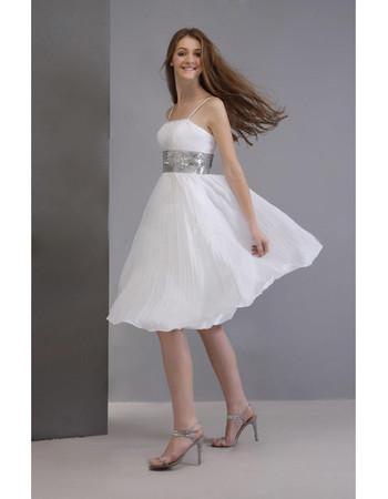 Simple Informal A-Line Spaghetti Straps Chiffon Short Beach Wedding Dress