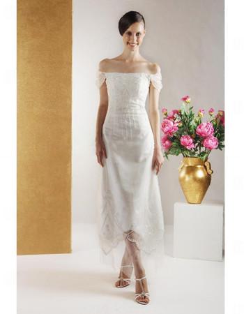 Custom Vintage A-Line Off-the-shoulder Tea Length Wedding Dress