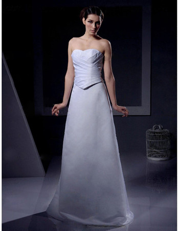 Classic Simple A-Line Sweetheart Floor Length Satin Wedding Dress