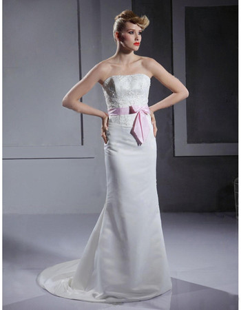 Classic Mermaid/ Trumpet Strapless Floor Length Satin Wedding Dress