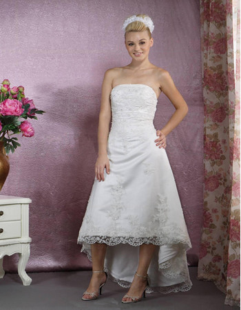 Classic Simple A-Line Strapless High Low Satin Wedding Dress