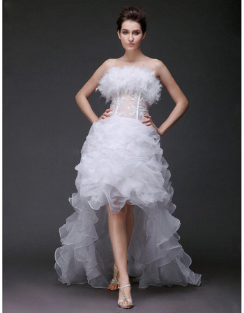 Custom Charming A-Line Strapless Asymmetric High-Low Wedding Dress