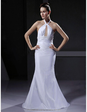 Cheap Sexy Mermaid/ Trumpet Halter Floor Length Satin Wedding Dress