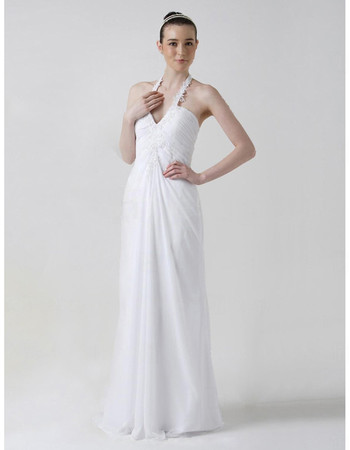 Sexy Classic Sheath/ Column Halter Floor Length Chiffon Wedding Dress