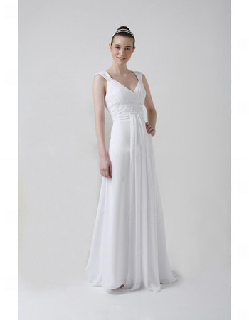 Modern Elegant A-Line V-Neck Floor Length Chiffon Wedding Dress