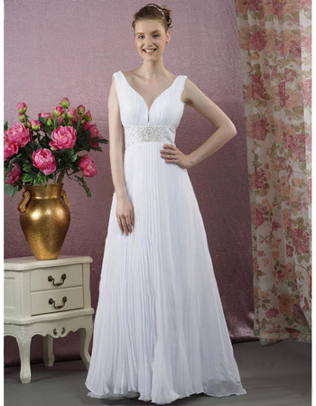 Classic A-Line V-Neck Floor Length Chiffon Wedding Dress