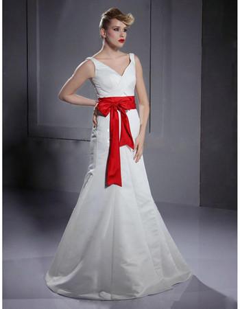 Classic A-Line V-Neck Floor Length Satin Dress for Winter Wedding