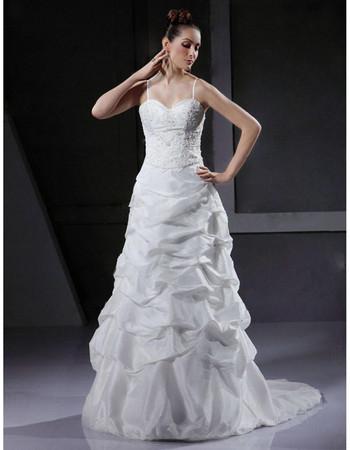 Designer A-Line Spaghetti Straps Court Train Satin Wedding Dress