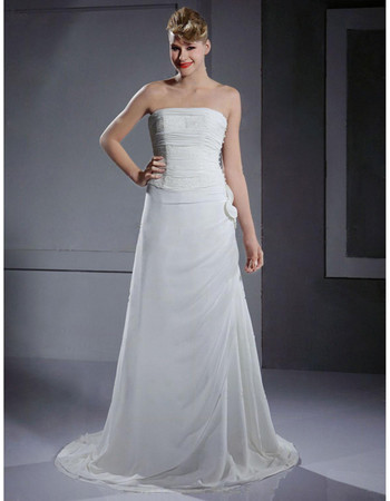 Designer Custom A-Line Strapless Court Train Chiffon Wedding Dress