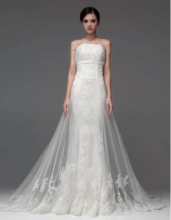 Affordable Classic Sheath/ Column Strapless Chapel Train Wedding Dress
