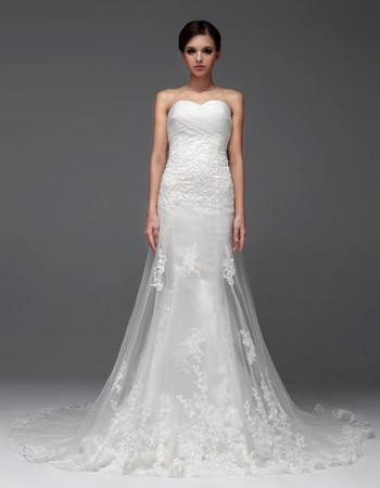 Modern Sheath/ Column Sweetheart Chapel Train Wedding Dress