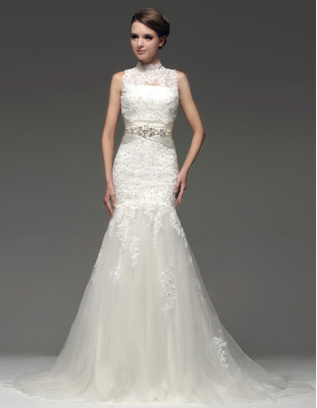 Chic Modern Mermaid/ Trumpet Strapless Chapel Train Wedding Dress