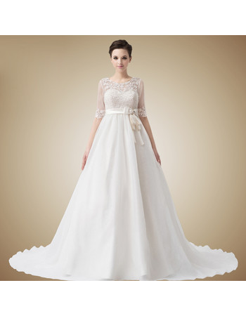 Classic Empire Waist Sweetheart Chapel Train Wedding Dress with Jackets