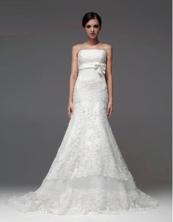 Elegant Mermaid/ Trumpet Strapless Chapel Train Wedding Dress