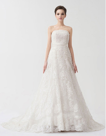 Modern A-Line Strapless Court Train Lace Wedding Dress with Straps