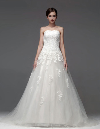 Designer Elegant A-Line Strapless Chapel Train Wedding Dress