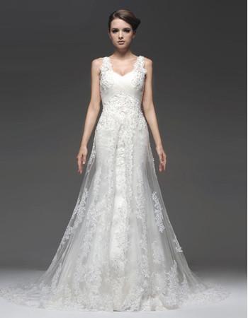 Classic Sheath/ Column Sweetheart Chapel Train Wedding Dress