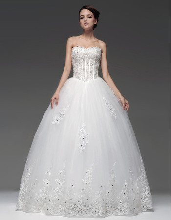 Cheap Ball Gown Sweetheart Floor Length Wedding Dress