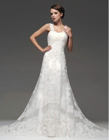 Designer Modern A-Line Straps Chapel Train Organza Wedding Dress