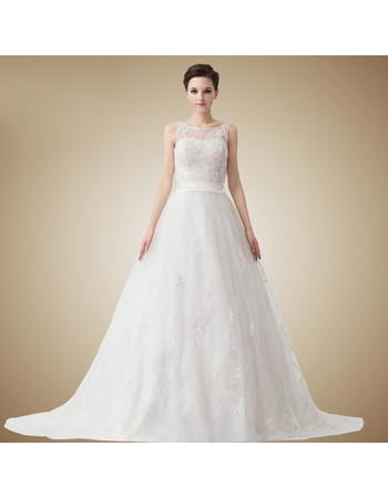 Affordable Classic A-Line Court Train Organza Wedding Dress
