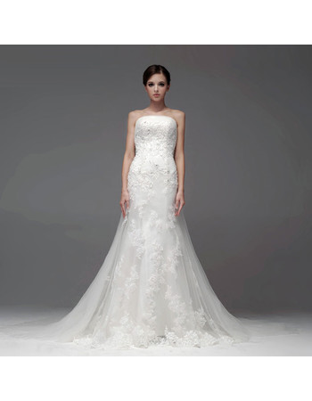 Designer Top Mermaid/ Trumpet Strapless Chapel Train Organza Wedding Dress