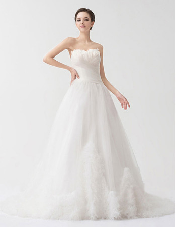 Chic A-Line Sweetheart Court Train Organza Wedding Dress