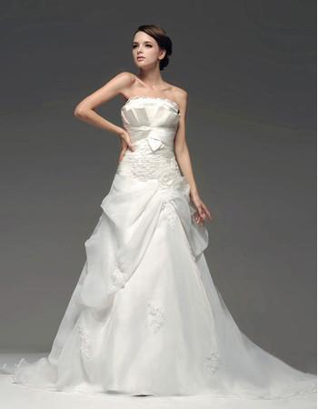Classic Modern A-Line Strapless Court Train Wedding Dress