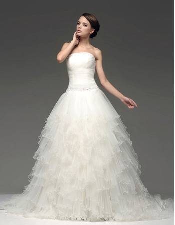 Chic Modern A-Line Strapless Chapel Train Tiered Wedding Dress