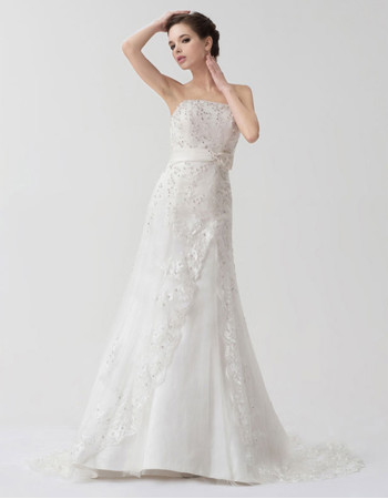 Classic Elegant A-Line Strapless Court Train Wedding Dress