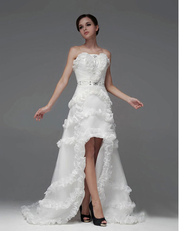 Chic A-Line Strapless High-Low Asymmetric Wedding Dress