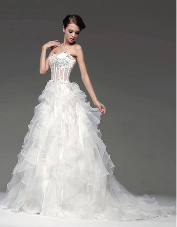 Cheap Gorgeous A-Line Sweetheart Court Train Ruffle Wedding Dress
