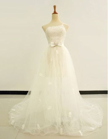 Simple Sheath/ Column One Shoulder Wedding Dress with Detachable Train