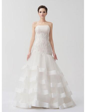 Chic Modern Mermaid/ Trumpet Strapless Brush/ Sweep Train Wedding Dress