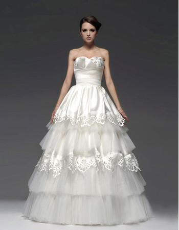 Amazing Top A-Line Sweetheart Floor Length Tiered Wedding Dress