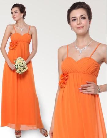 Custom Empire Spaghetti Straps Ankle Length Chiffon Bridesmaid Dress
