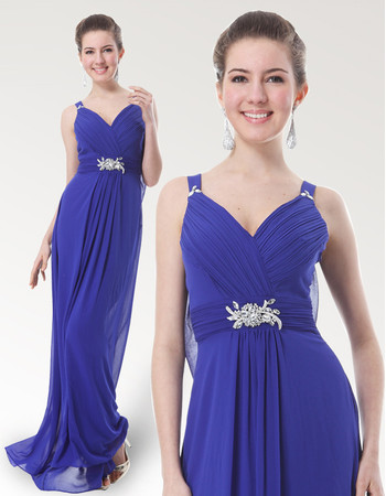 Inexpensive Eleagnt Straps Floor Length Chiffon Bridesmaid Dress for Maid of honour