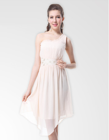 Inexpensive One Shoulder Knee Length Chiffon Bridesmaid Dress for Maid of honour